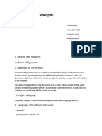 Synopsis (Customer Billing System)