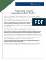 Declaraciones de Guido Sandleris sobre las medidas anunciadas por Lacunza