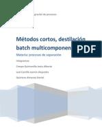 Metodos Cortos de Destilacion Batch Multicomponente