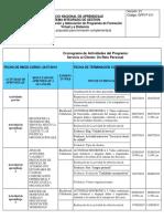 Cronograma de Actividades Servicio Al Cliente SENA