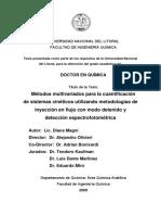 Metodos multivariados para cuantificacion de sistema cinetici
