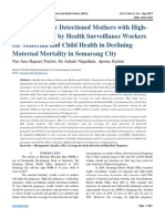 Managing Early Detectionof Mothers with High-Risk Pregnancy by Health Surveillance Workers for Maternal and Child Health in Declining Maternal Mortality in Semarang City