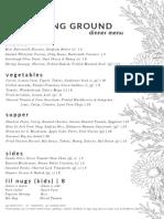 Stomping Ground dinner menu