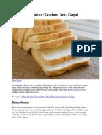 Resep Roti Tawar Gandum Anti Gagal