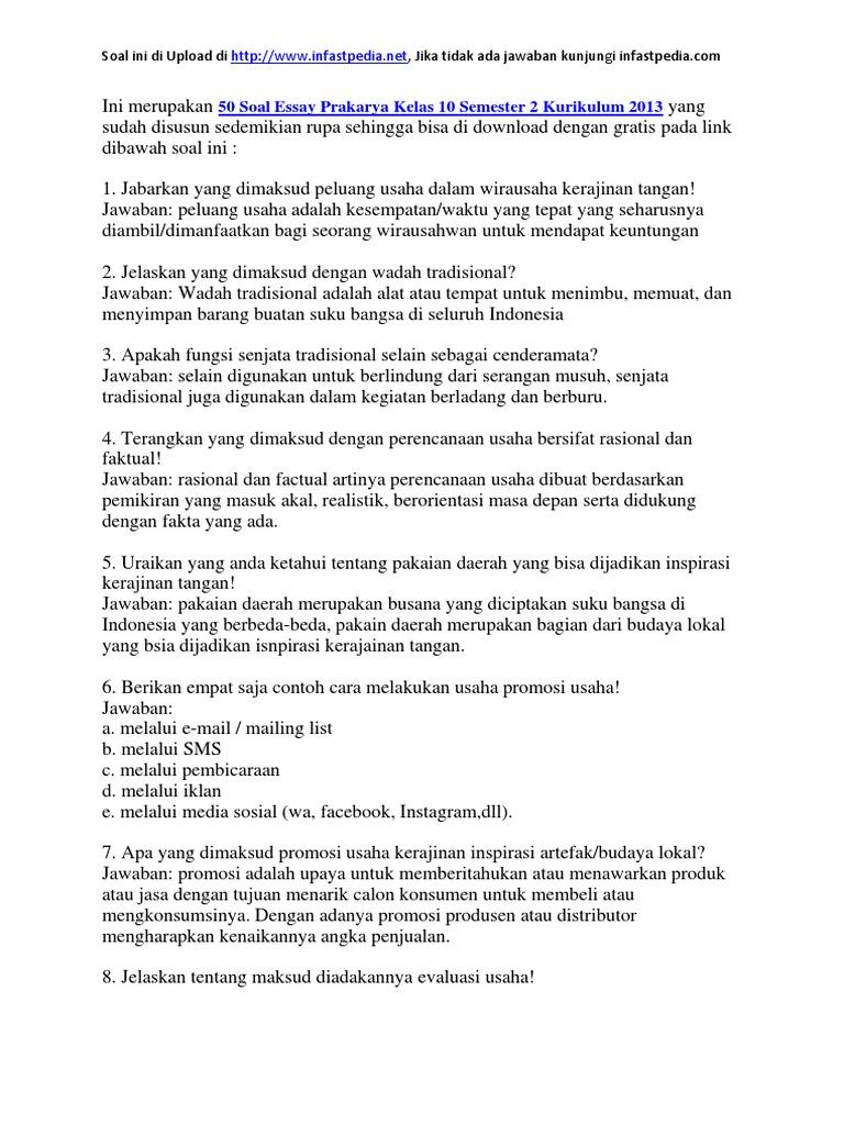 50 Soal Essay Prakarya Kelas 10 Semester 2 Kurikulum 2013