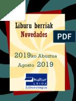 2019ko abuztuko liburu berriak -- Novedades de agosto del 2019