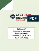 Bba Syllabus (Semesters 1-6) Version 3.0 (w.e.f. 2019 - 22 Batch)
