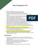 Corporate Quality Management Job Description