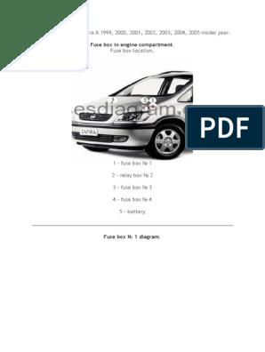 Diagram Relay & Fuse Zafira | Headlamp | Anti Lock king ... on circuit breaker box layout, display box layout, panel box layout, control box layout, battery box layout,