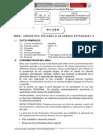 Silabo Linguistica AP- Idioma Extranjero II- Inglés VI - 2019- II