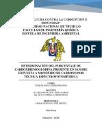 Determinación Del Porcentaje de Carboxihemoglobina Presente en Sangre Expuesta a Monóxido de Carbono Por Técnica Espectrofotométrica