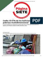 Cedla_ El 61% de Los Bolivianos Sufren Pobreza Multidimensional - Diario Pagina Siete