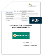 Financial requirements of corporates