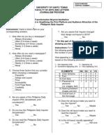 Final Survey Questionnare