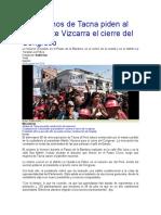 Ciudadanos de Tacna Piden Al Presidente Vizcarra El Cierre Del Congreso