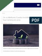 Os 10 Melhores Fundos Imobiliários Para Sua Carteira Em 2019 - Blog Da Rico