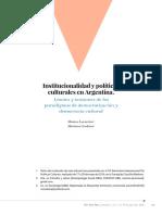 Lacarrieu-Cerdeira. Políticas Culturais Em Revista UFBA. Institucionalidad. JUnio 2016