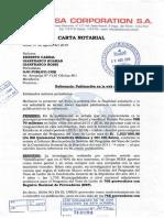 Carta Notarial - Réplica de NIISA a reportaje publicado sobre el Vaso de Leche