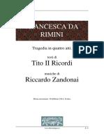 Francesca Da Rimini - Tragedia in Quattro Atti