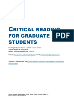 Critical Reading for Graduate Students(1)