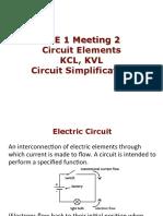 EEE 1 Meeting 2 - Circuit Elements. KCL, KVL, Circuit Simplification