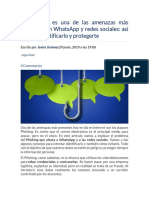 El Phishing Es Una de Las Amenazas Más Presentes en WhatsApp y Redes Sociales