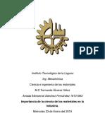 Amada Monserrat Sánchez Fernández Importancia de La Ciencia de Los Materiales en La Industria