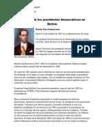 Biografía de Los Presidentes Democráticos en Bolivia