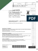 January 2012 QP - C1 Edexcel