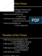 STS Lecture- The Paradox of Our Times