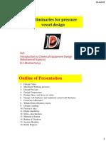 Preliminaries for Pressure Vessel Design