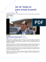 Autoridades de Tarata Se Reunirán Para Revisar Proyecto Vilavilani II