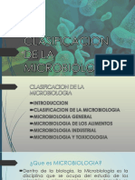 Clasificacion de La Microbiologia