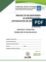 Primera Prueba de Avance de Lenguaje y Literatura- Primer Año de Bachillerato 2019
