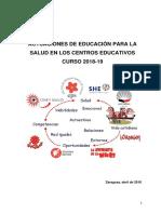 ACTUACIONES DE EDUCACIÓN PARA LA SALUD EN LOS CENTROS EDUCATIVOS