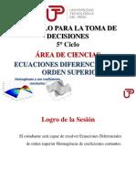 Semana 05 Sesion 01 - Ecuaciones Diferenciales de Orden Superior, Homogeneas. PPT
