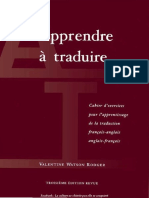 Apprendre a Traduire_Cahier d'Exercices Pour l'Apprentissage de La Traduct_fr-Ang Ang-fr-Valentine Watson Rodger