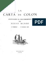 Carta de Colón - Descubrimiento Del Nuevo Mundo