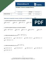 MII – U3 – Actividad 2. Números Complejos Parte 2