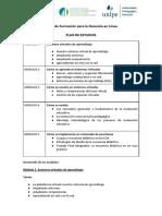 Docencia en Linea 2018 Plan de Estudios