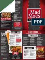 Mad Moes Food Menu 2018