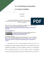 Imre Lakatos, La méthodologie des programmes de recherche scientifique