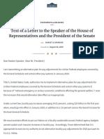 President Trump's Letter Re