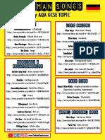 German Songs by Topic GCSE PDF