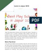Top Play Schools in Jaipur 2019