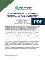 Stormwater Processing Separator Design 2014