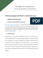 Business Management Assignment on Turkey Farmer Association of Australia