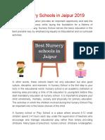 Best Nursery Schools in Jaipur 2019