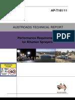 AP-T181-11 Performance Requirements for Bitumen Sprayers