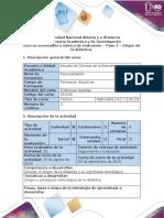 Guía de Actividades y Rúbrica de Evaluación - Paso 1 - Origen de La Didáctica